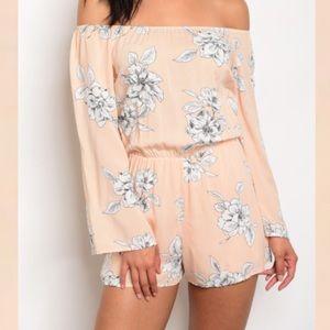 Pants - S-L Peach Floral off Shoulder romper