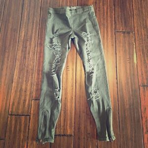 Joe's Jeans Pants - Joe's Jeans Olive Jeggings Zip Bottom Size M