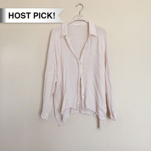 Lush Tops - *HP!* Lush pinkish cream white loose button up S