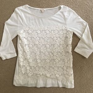 J Crew Factory Lace 3/4 Sleeve T-shirt