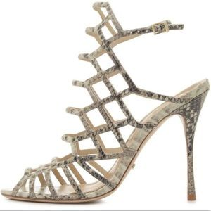 Caged heels, snake print