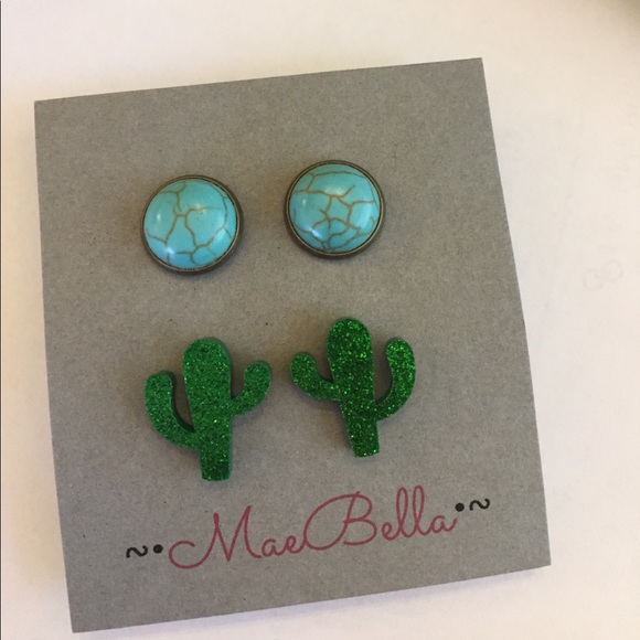turquoise cactus earrings set os from sweet sassy vines s