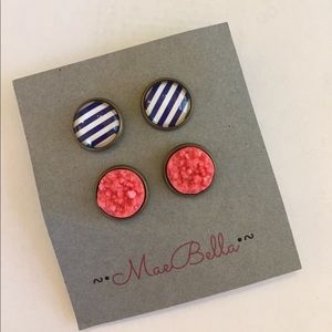Jewelry - Navy Stripe and pink preppy earrings set