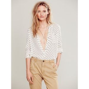 Free People Printed deep v neck button shirt
