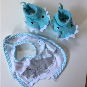 Baby Aspen Other - Shark Bib + Booties Baby Boy Blue 0-9 Months