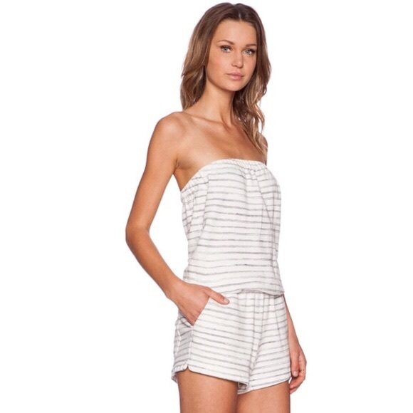 8fd9d2214b86 Joie Pants - SOFT JOIE Striped Terry Cloth Strapless Romper