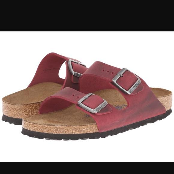 Birkenstock Shoes - Birkenstock Arizona red oiled leather sandals 37 6 d1e6786ac