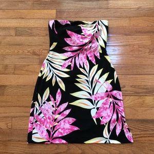 Tropical Cache strapless mini dress 
