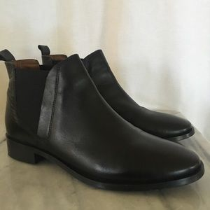 Topshop black leather ankle boots