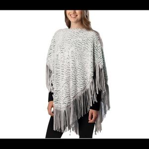 Simonetta Other - Sexy silver/white gray faux fur with suede fringe