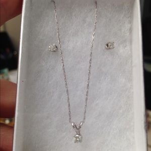 Jewelry - 14k white gold diamond necklace and studs.