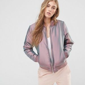 Missguided Jackets & Blazers - Missguided Iridescent Blush Mauve Bomber Jacket