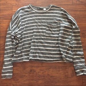 BDG Striped Long Sleeve Cropped Top