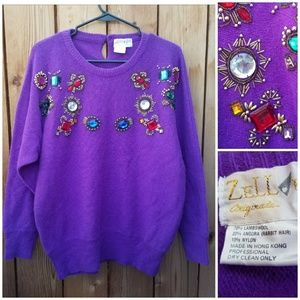 Vintage Sweaters - Vintage Embellished Purple Oversized Sweater