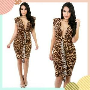 Dresses & Skirts - Leopard Ruffle Backless Bodycon Sexy Dress🐆🐆💕🔥