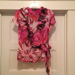 NWOT Ruffle Collar Wrap Top/Blouse. Sz 6
