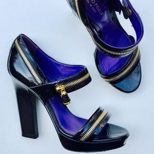 Sergio Rossi Patent Leather Zipper Heel 38.5