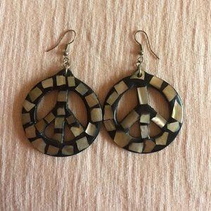 Jewelry - Hand made chunky peace sign earrings