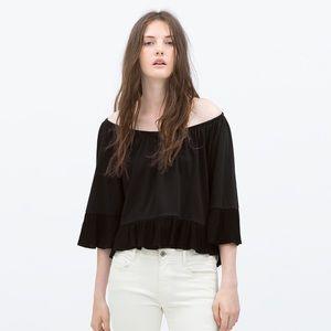 New Zara TRF Ruffle Crop Off Shoulder Top