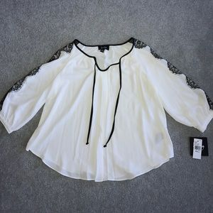 Dressy White and Black Blouse NWT