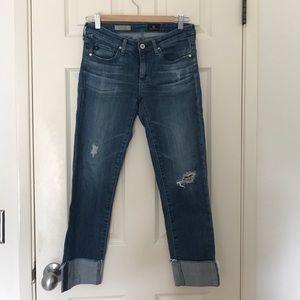 "AG ""The Stevie Cuff"" Slim Straight Cuffed Jeans"