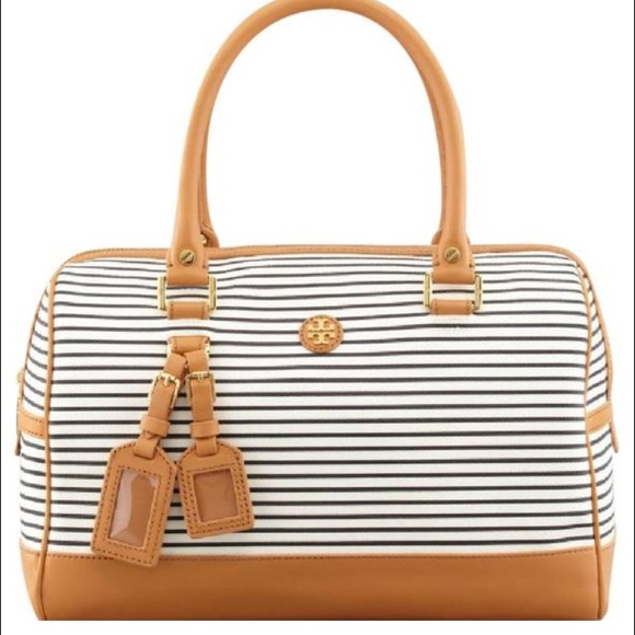 Tory Burch Handbags - Authentic Tory Burch Navy and White Stripped Bag