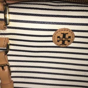 Tory Burch Bags - Authentic Tory Burch Navy and White Stripped Bag