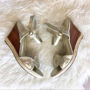 Jack Rogers Shoes - Jack Rogers Platinum Clare Wedge Sandals
