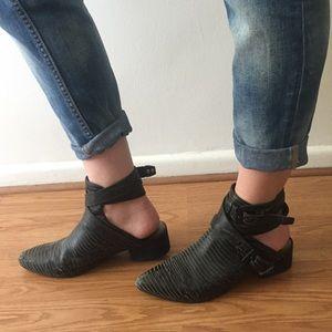 Matisse Black ankle strap booties (worn in)