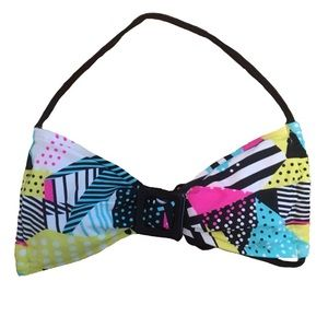Halter Tie Colorful Geometric Retro Bikini Top