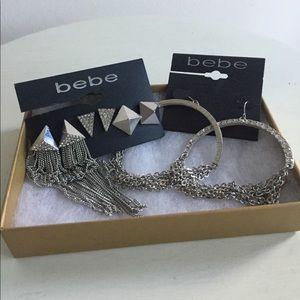 bebe Jewelry - NEW BEBE box w/ 4 sets of earrings