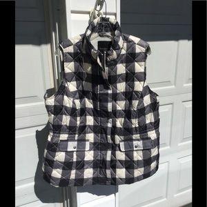 Talbots Jackets & Blazers - NWT Talbots Cute Black & Cream Buffalo Plaid Vest