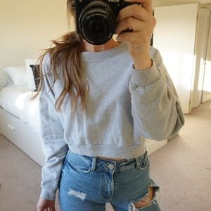 American Apparel Grey Crew Neck Cropped Sweatshirt