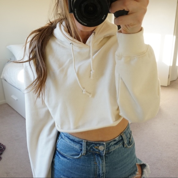 Black Dope Tops - Cropped Off-White Sweatshirt