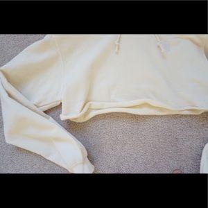 Black Dope Tops - Cropped Off-White Sweatshirt