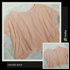 Willi Smith Tops - Peach Lace and Cinched Back top