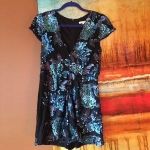 Black and Blue Sequined Romper