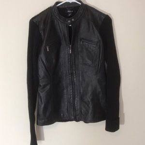 Style & Co Jackets & Blazers - Style and Co leather front jacket