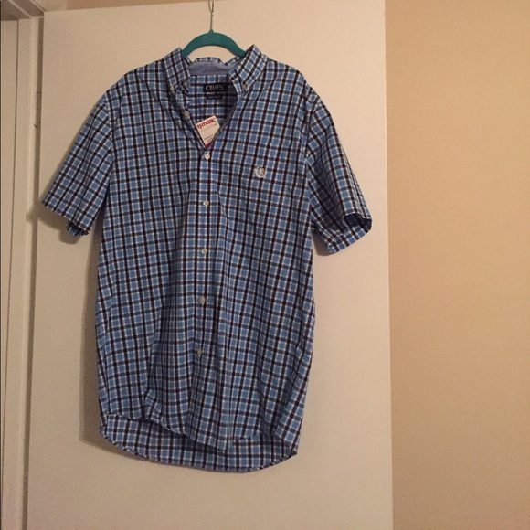 Chaps men 39 s blue checkered short sleeve button down from for Chaps button down shirts