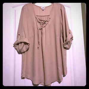 Soulmates Tops - Tan 3/4 sleeve blouse