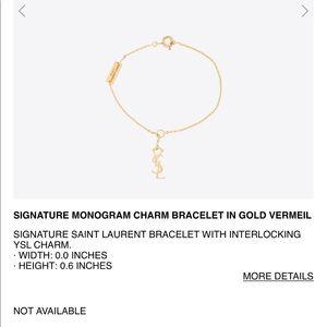 Yves Saint Laurent Jewelry , YSL 18k gold monogram bracelet!! LAST PROCE  DROP!