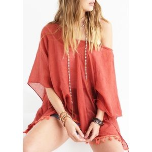 B Chic Boutique Other - Coral Lightweight V Neck Cover Up - OS