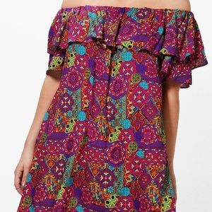 Dresses & Skirts - Off the shoulder print dress