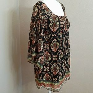 NWOT Socialite Hippie Boho Shift Dress Bell Sleeve
