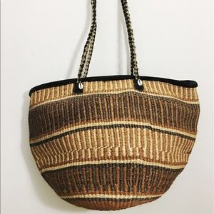 Vintage Handbags - Oversized Boho straw tote bag