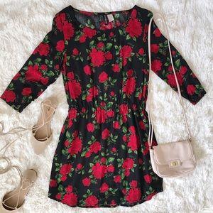 H&M Dresses & Skirts - Rose Print 3/4-Sleeve Dress w/ Defined Waist