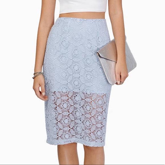 32bcad8e214 Tobi Light Blue Crochet Lace Midi Skirt XS