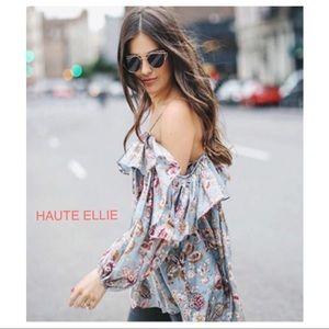 Haute Ellie Tops - Tea Garden Oversized Off Shoulder Ruffle Top