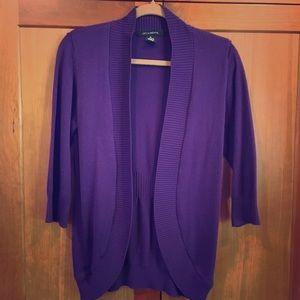 89th & Madison Sweaters - 3/4 Sleeved Purple cardigan Sweater