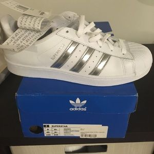 adidas Shoes - Adidas white/silver superstars- womens size 8